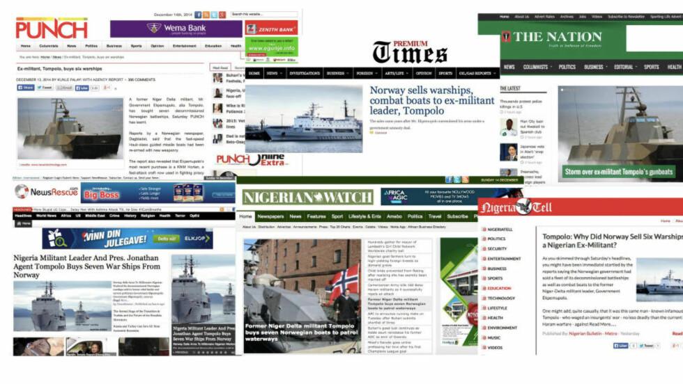 STORE OPPSLAG: Slik så forsidene ut i de største nigerianske nettavisene søndag. Salget av tidligere norske marinefartøy til krigsherren Tompolo i Nigeria overrasker stort.