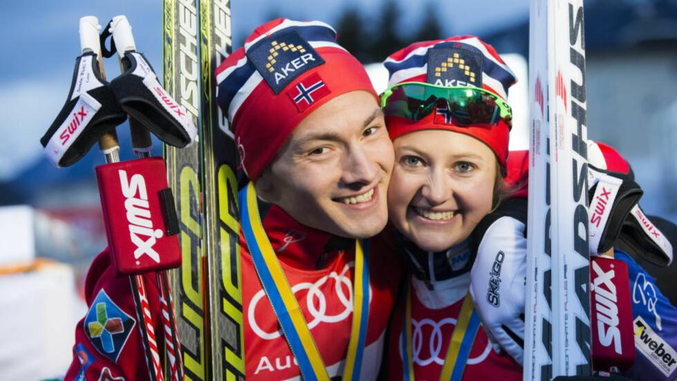 NORSKE VINNERFJES:  Finn Hågen Krogh og Ingvild Flugstad Østberg vant i verdenscupen for første gang. Det er et varsel om fortsatt norsk dominanse i langrenn. FOTO: Berit Roald / NTB scanpix.