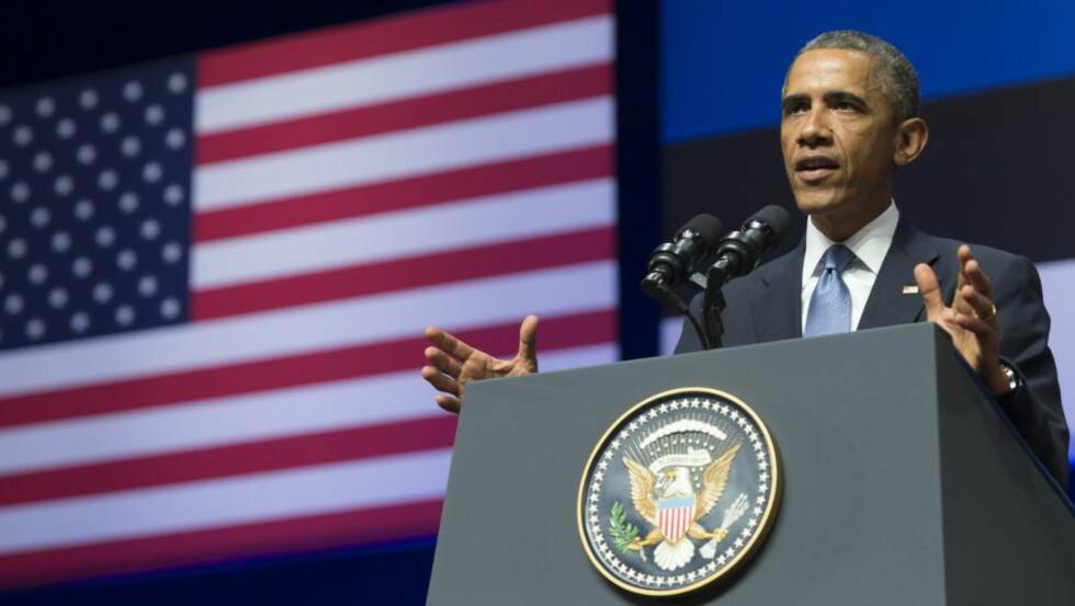 I ØST-EUROPA: President Barack Obama er for tida i Estlands hovedstad Tallinn. Foto: SAUL LOEB / AFP / NTB SCANPIX
