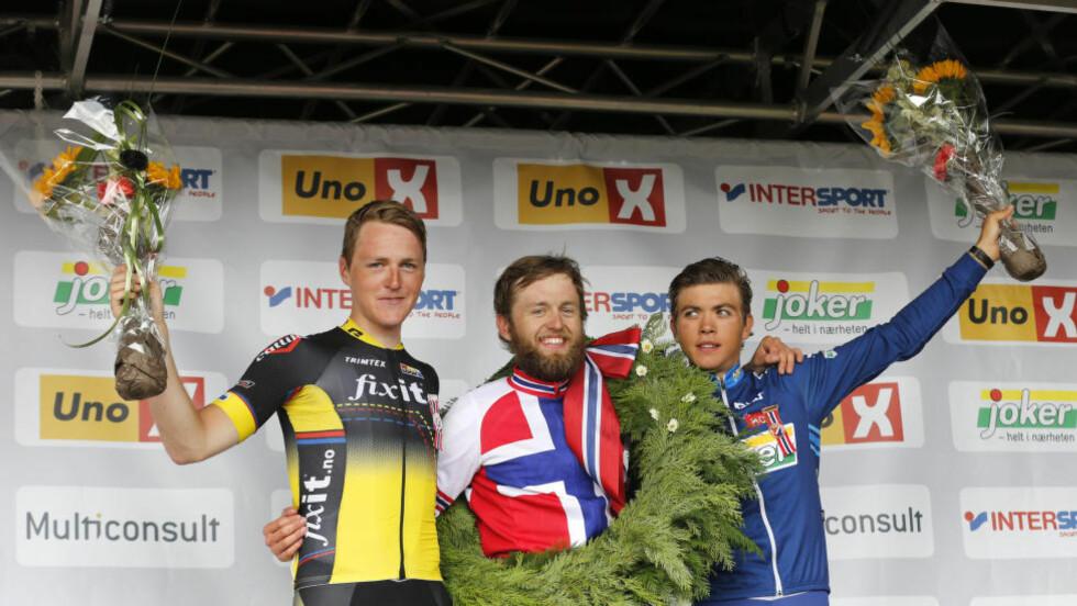STERK SESONG: Odd Christian Eiking (til høyre) tok tredjeplassen i årets sykkel-NM og var også med på det sterke norske laget i U23-VM. Foto: Terje Bendiksby / NTB scanpix