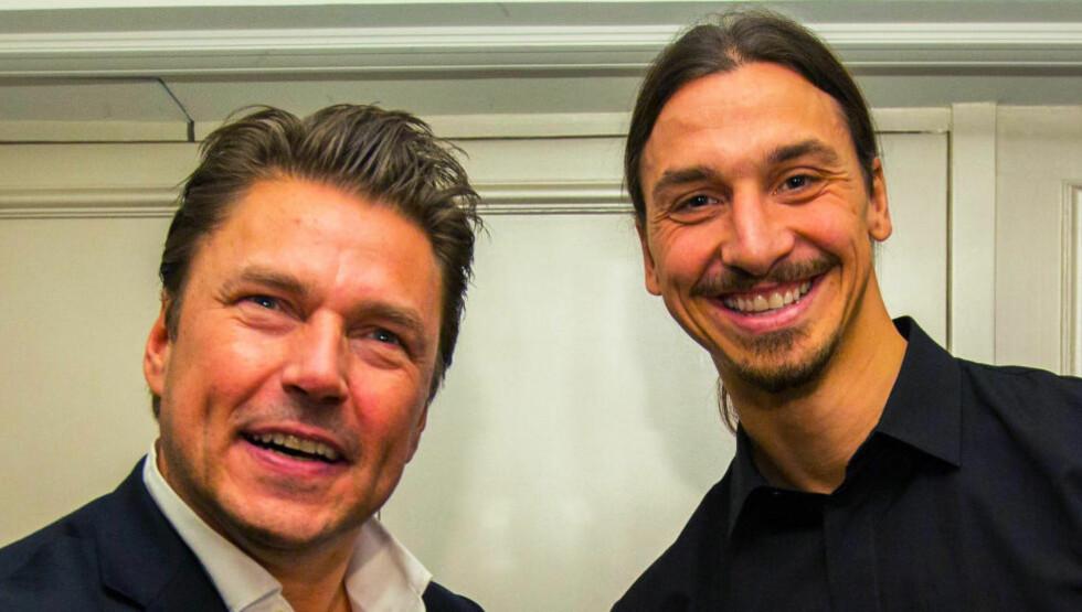 INNLEDER SAMARBEID: Zlatan Ibrahimovic skal lage klær for Dressmann. Her poserer han sammen med administrerende direktør i Varner-Gruppen, Petter Varner. Foto: Dressmann