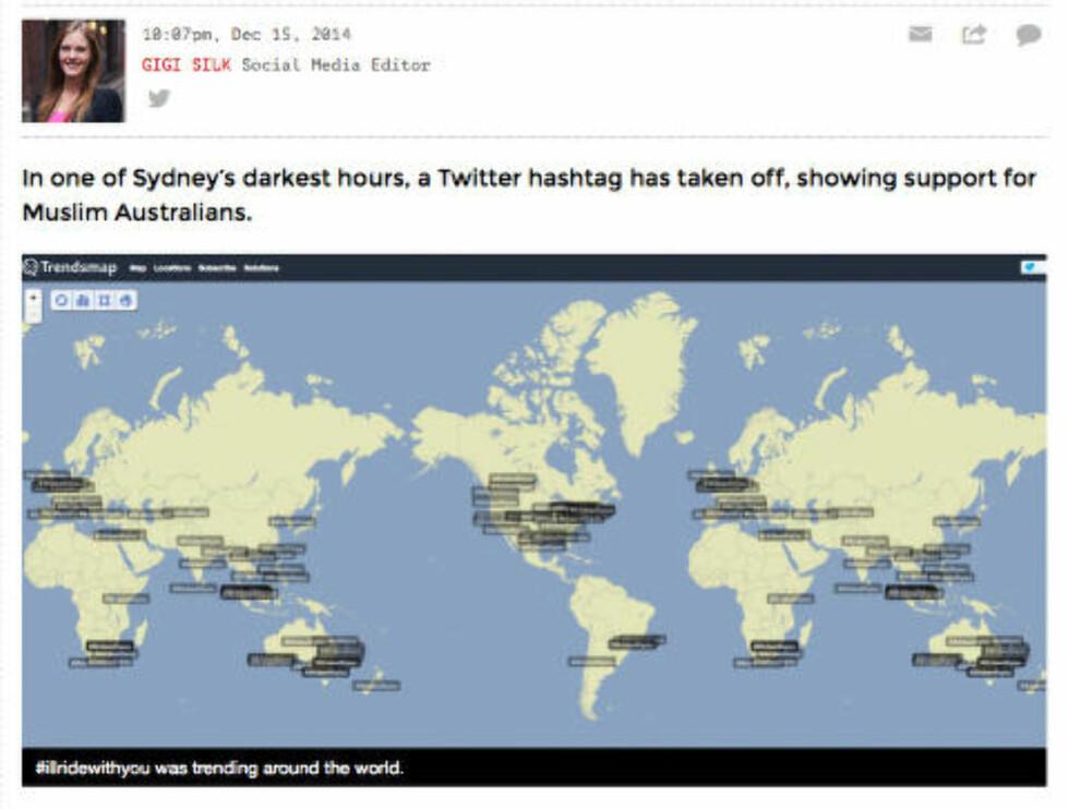 HELE VERDEN: Emneordet har i løpet av dagen blitt brukt over hele verden, ifølge Twitters analyser av emneordene som brukes hvor i verden. Nettavisa The New Daily har laget oversikten. Skjermdump: thenewdaily.com.au
