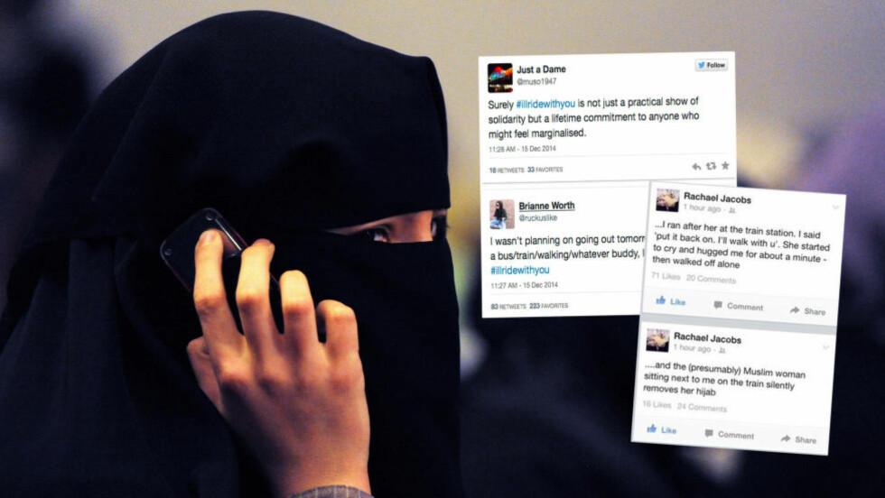 STØTTEERKLÆRINGER: Rachaels historie fra togturen ved siden av en muslimsk kvinne, har ført til stor muslimstøtte på nettet. Bildet av denne kvinnen i Sydney, er tatt i en annen anledning, i 2011. Foto: AFP PHOTO / Torsten BLACKWOOD/NTB Scanpix