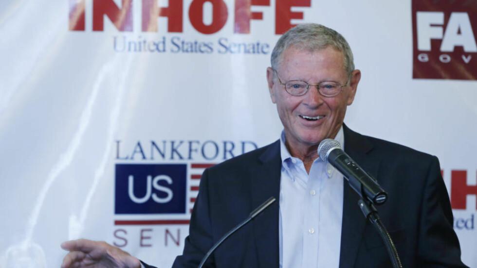 KJENT KLIMASKEPTIKER: Senator Jim Inhofe er republikaner og fra Oklahoma. Han er også en kjent klimaskeptiker. Foto: Sue Ogrocki/ AP / NTB Scanpix
