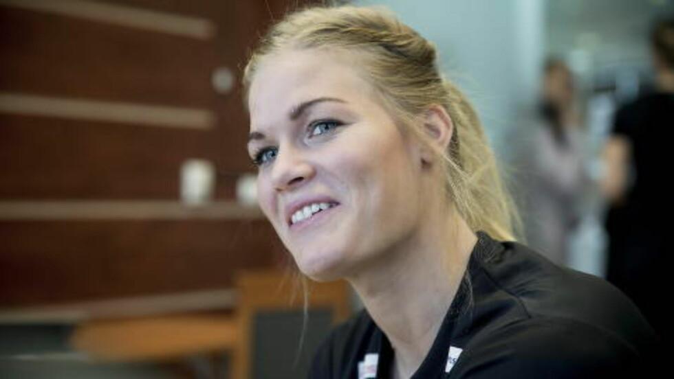 TENT: Veronica Kristiansen før Ungarn-kampen. Foto: Bjørn Langsem / DAGBLADET