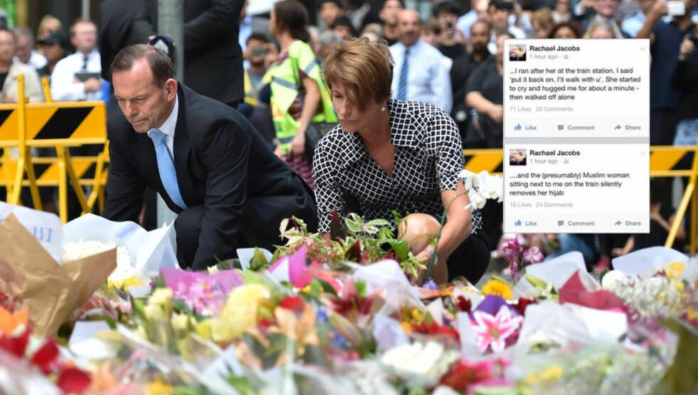 SAMLER AUSTRALIA:  En Facebook-melding skapte nettfenomenet som samler australiere etter den tragiske gisselsituasjonen i Sydney. Her legger Australias statsminister Tony Abbot og hans kone ned blomster til minne om de som omkom. Foto: AFP / NTB Scanpix
