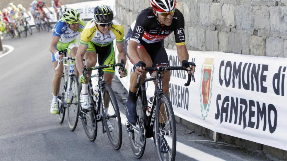 DUELLANTER: Fabian Cancellara (foran) og Simon Gerrans (bak Cancellara) kan meget vel bli Alexander Kristoffs største rivaler på hjemmebane under Tour des Fjords. Foto: REUTERS/Alessandro Garofalo
