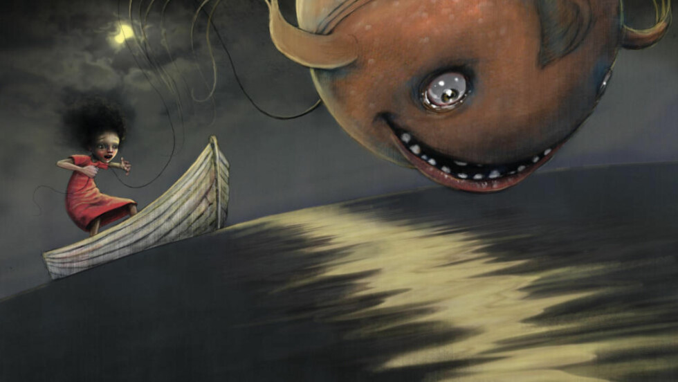 MÅNEFISK: Flyvefisken, eller skal vi si månefisken, i Lisa Aisatos nye bildebok, er et spennende bekjentskap. Illustrasjon fra boka