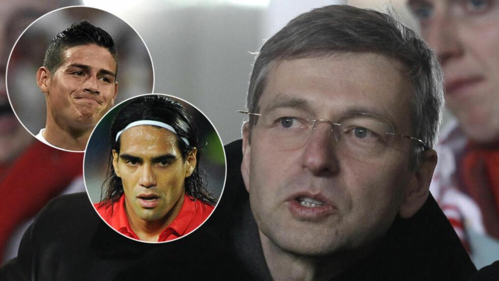 UT: Både James Rodriguez og Radamel Falcao har forlatt Monaco i sommer. Det faktum at klubbens eier, russiske Dimitrij Rybolovlev, skylder 27 milliarder kroner i tidenes dyreste skilsmisseoppgjør kan ha vært en av faktorene. Foto: NTB Scanpix