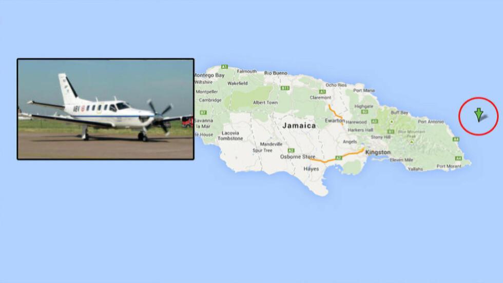 FLYULYKKE : Flyet av typen Socata TBM-700 styrtet utenfor Jamaica like før klokka 2100 norsk tid. Flyet var i luften i ca. fem timer. De siste fire timene hadde det ingen kontakt med omverdenen. Foto: Wikimedia commons/Google maps