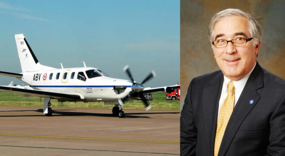 IVRIG PILOT: Larry Glazer var en ivrig pilot og leder i foreningen for eiere og piloter av Socata TBM-700. Foto: ARPINGSTONE / WIKIMEDIA COMMONS, BUCKINGHAM PROPERTIES