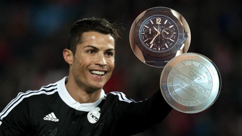 I DET GAVMILDE HJØRNET: Før fredgens kamp mot Almeria skal hele Real Madrid-laget ha fått en klokka verdt mer enn 60 000 kroner av Cristiano Ronaldo. På baksiden er initialene hans inngravert. Det samme er «La Décima» som symboliserer klubbens tiende triumf i den gjeveste Europacupen. Foto: NTB Scanpix / Twitter