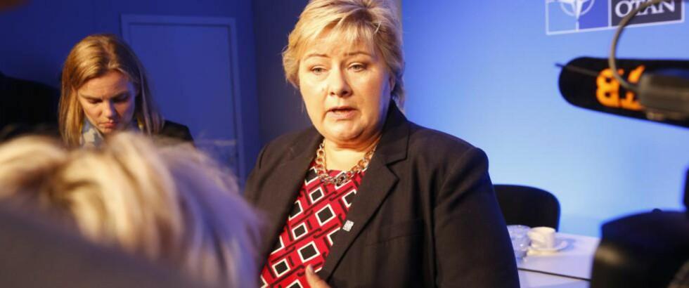 ADVARER: Statsminister Erna Solberg (H) frykter at det kjølige forholdet mellom Russland og Vesten kan føre til økt arbeidsledighet i Nord-Norge. Foto: Terje Bendiksby / NTB scanpix             Foto: Terje Bendiksby / NTB scanpix