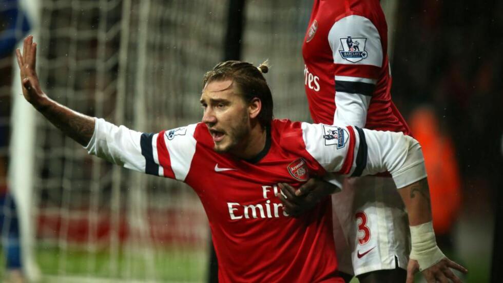 NY VÅR: Danske Nicklas Bendtner fikk ikke så mye spilletid at det gjorde noe i Arsenal. Nå har han skiftet beite, og føler at motivasjonen og spillelysten er på vei tilbake. Foto: AP Photo/John Walton/NTB Scanpix