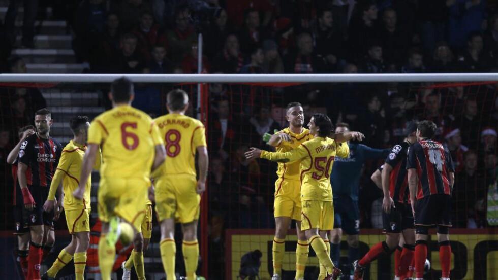 OPPTUR: Liverpool fikk en opptur etter en motgangsperiode i ligacupen onsdag. Da tok de seg til semifinale med 3-1 over Bournemouth. Foto: AFP PHOTO / ADRIAN DENNIS