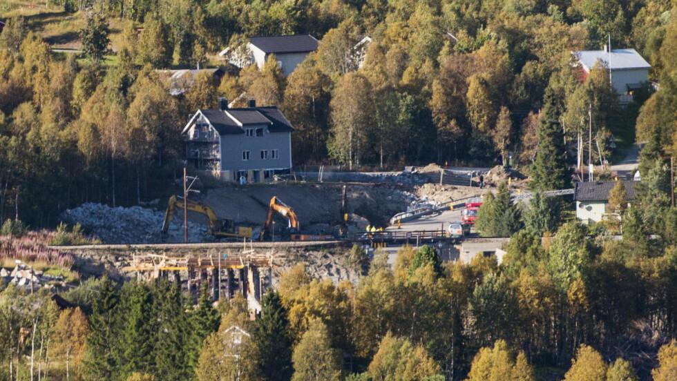 ULYKKESSTEDET:  Det var her tre omkom under sprengningsulykken forrige uke. I dag holdt Hol kommune minnestund. Foto: Fredrik Varfjell, NTB Scanpix.