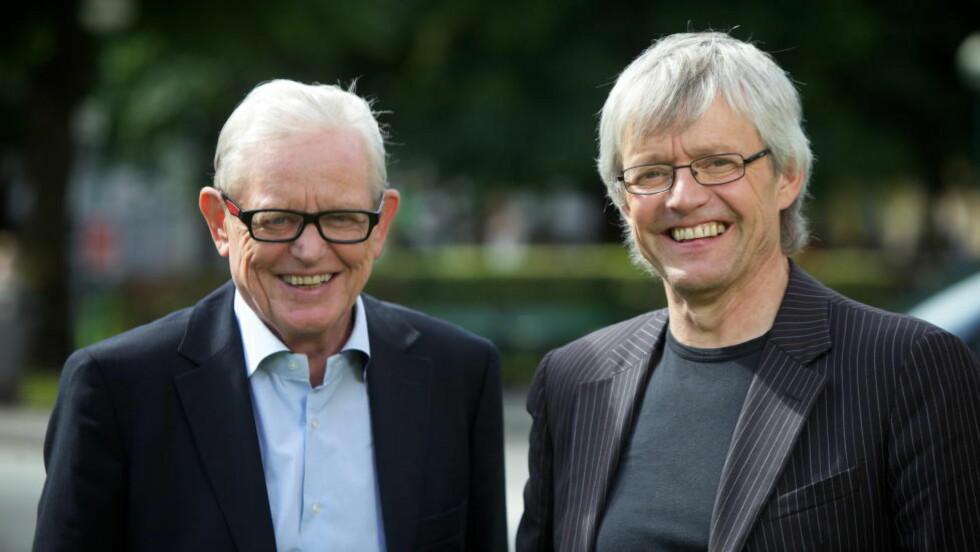 BLIR IKKE NOE AV: Stein Kåre Kristiansen (til høyre) kommer likevel ikke til å lede TV 2-programmet «Kristiansen og Strand» med tidligere redaktør i Dagsavisen, Arne Strand (til venstre). Foto: Bjørn Erik Larsen / Scanpix