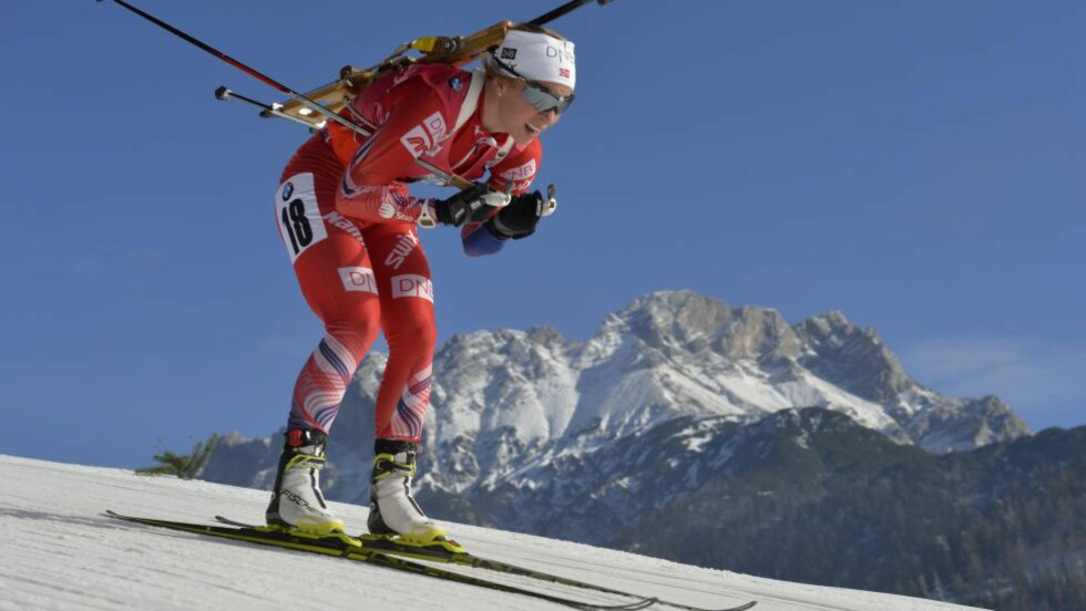 BESTE NORSKE:  En syk Tiril Eckhoff ble beste norske Pokljuka. Foto: AFP PHOTO / SAMUEL KUBANI/NTB Scanpix.