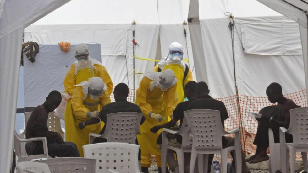 HARDT RAMMET:  Av de 1.871 som hittil har fått påvist ebola i Liberia, er 1.089 ifølge WHO døde. Situasjonen i landet er nå kritisk og det er ikke nok sykehussenger til å ta imot smittede. Foto: AP Photo/Abbas Dulleh)