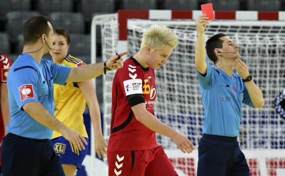 UTELUKKES: Montenegros råskinn Suzana Lazovic får ikke spille semifinalen mot Spania i håndball-EM fredag. Foto: EPA / GEORGI LICOVSKI / NTB Scanpix