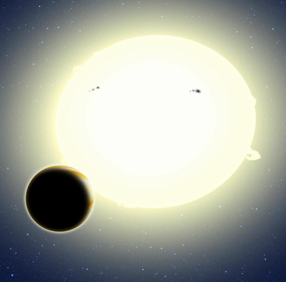 SUPERJORD: Denne planeten er mye større enn Jorda og er akkurat oppdaget av Kepler-romobservatoriet. Foto: David A. Aguilar/CfA