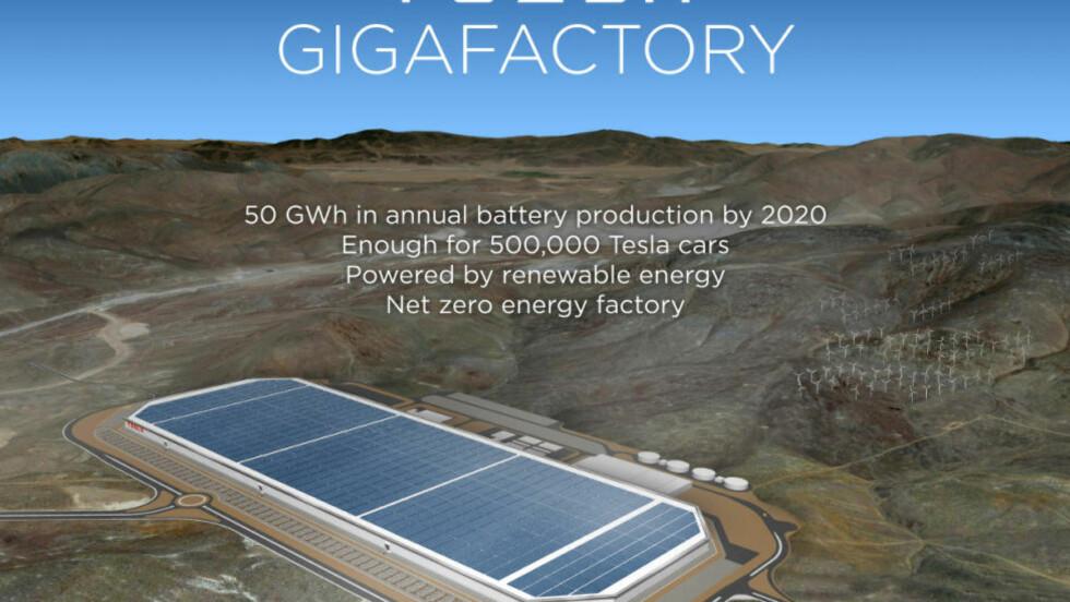 FORNYBART: Tesla lover å sørge for at produksjonen på batterifabrikken blir så miljøskånsom som mulig. Den vil naturligvis bli drevet med fornybar energi. Foto: TESLA