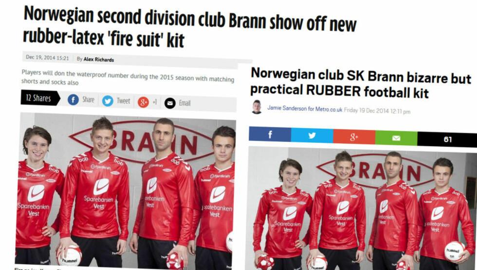 FÅR BRED OMTALE: De nye Brann-draktene vekker oppsikt. Her er det Kasper Skaanes, Erik Huseklepp, Azar Karadas og Andreas Vindheim som står modeller. Slik ser nettsidene til Irish Mirror og Metro ut i dag.