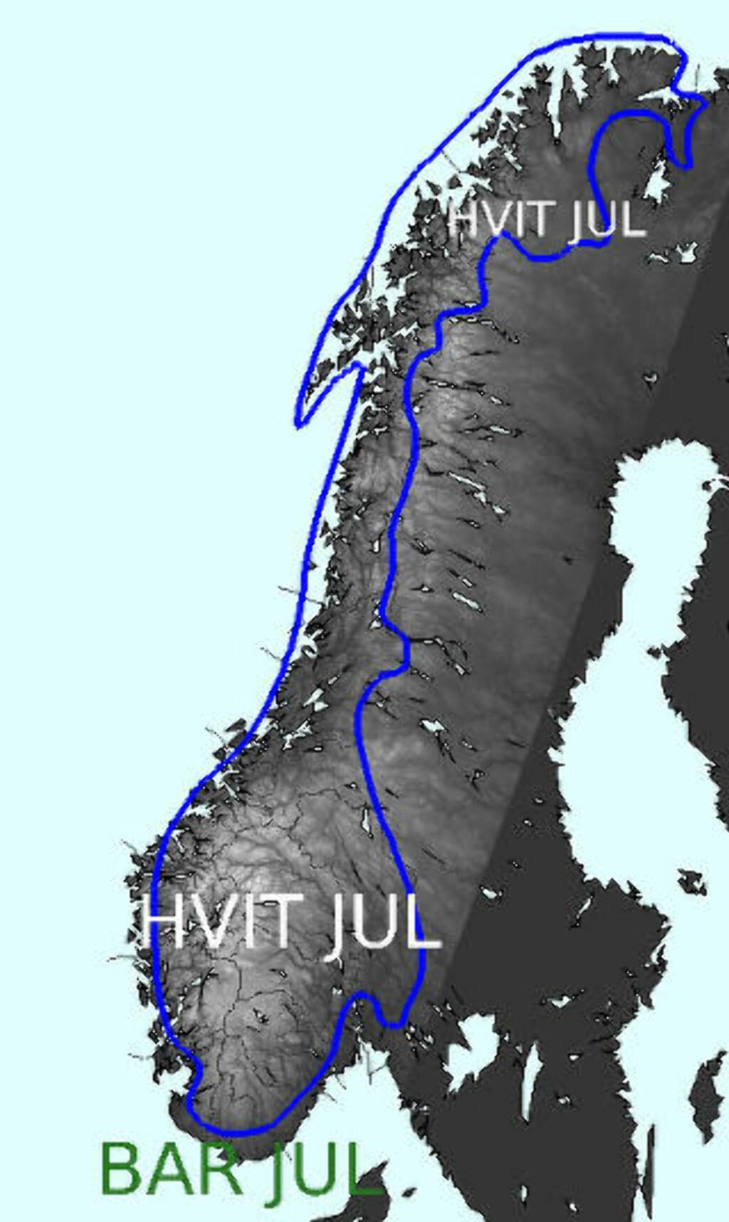 HVIT JUL:  Kartet viser hvor det blir hvit jul i år: Illustrasjon: MET