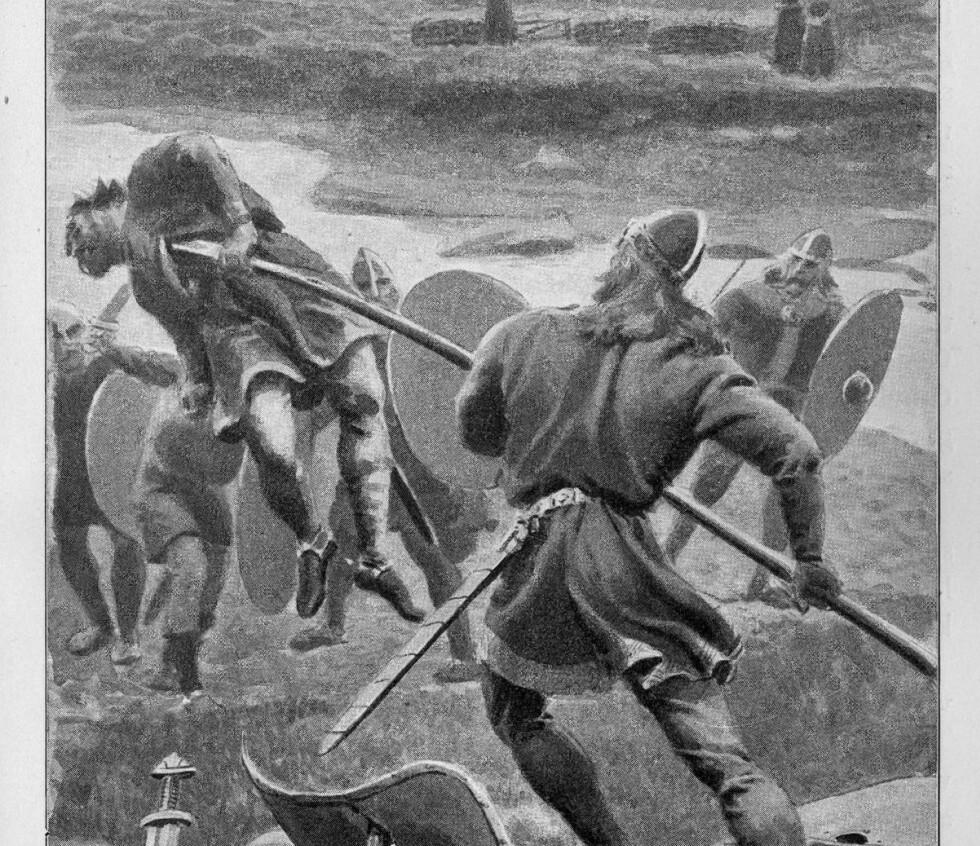 NJÅLS SAGA: Mye action og sterke replikker gjennomstrømmer islendingesagaene. Her er en scene fra Njåls saga, tolket av tegneren Andreas Bloch.