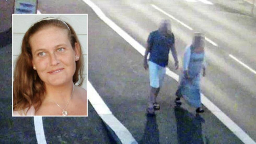 PÅ VEI MOT BRUA: Her er Linn Madelen Bråthen og ekspolitimannen på vei mot Breviksbrua minutter før den 33-årige Stathelle-kvinnen døde natt til 3. august i fjor. Foto: POLITIET, PRIVAT