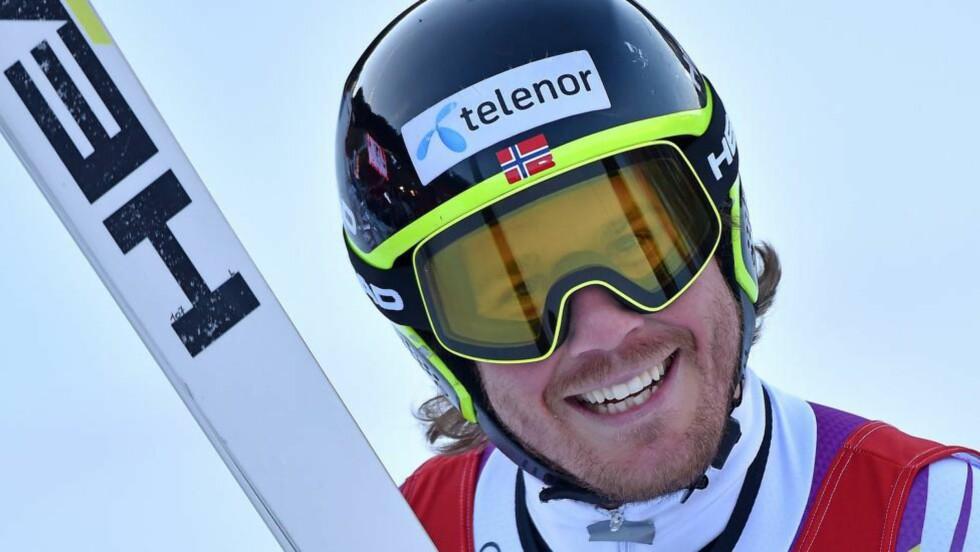 SUVEREN: Kjetil Jansrud tok i dag sin fjerde verdenscupseier denne sesongen, i super-G i Val Gardena. Foto: EPA/ETTORE FERRARI / NTB Scanpix