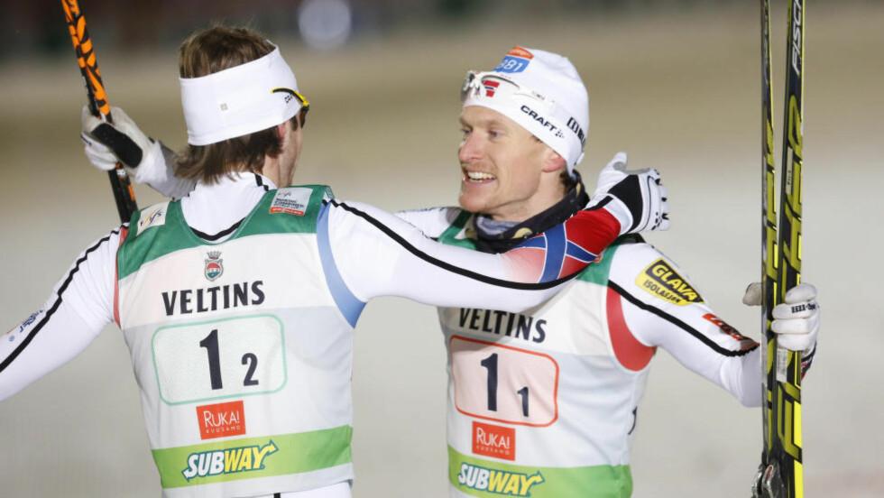 JUBEL:  Norge vant lagsprinten i kombinert. Foto: NTB Scanpix