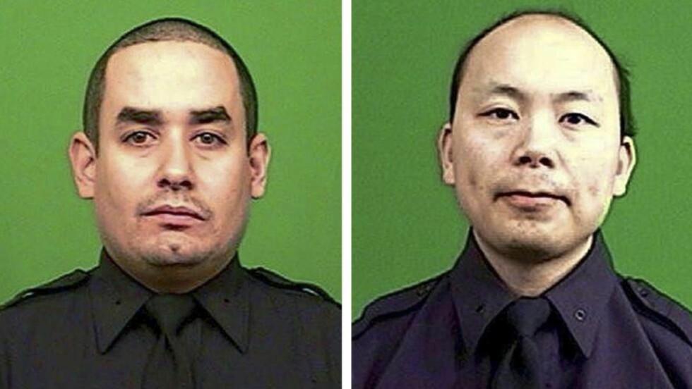 SKUTT OG DREPT PÅ JOBB:  De to politimennene  Rafael Ramos (venstre) og Wenjian Liu ble skutt og drept bakfra mens de var på jobb i politipatruljebil i Brooklyn i natt. Foto: NYPD/NTB Scanpix.