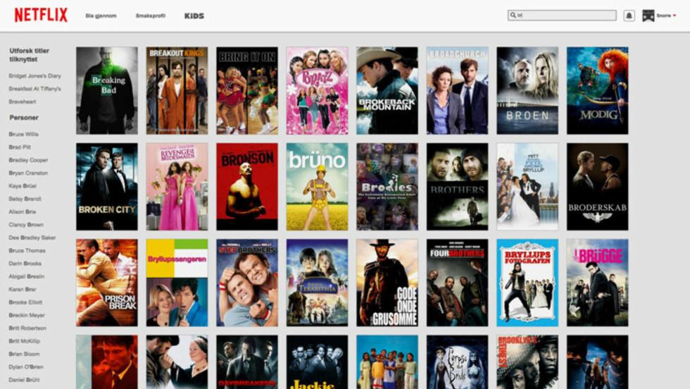 FORESLÅR: Om du søker på spesifikke personer eller titler på Netflix, er sjansen stor for at du ikke finner det du er ute etter. Med Netflix' nye søk skal det imidlertid dukke opp bedre alternativ når du søker. Foto: Skjermdump