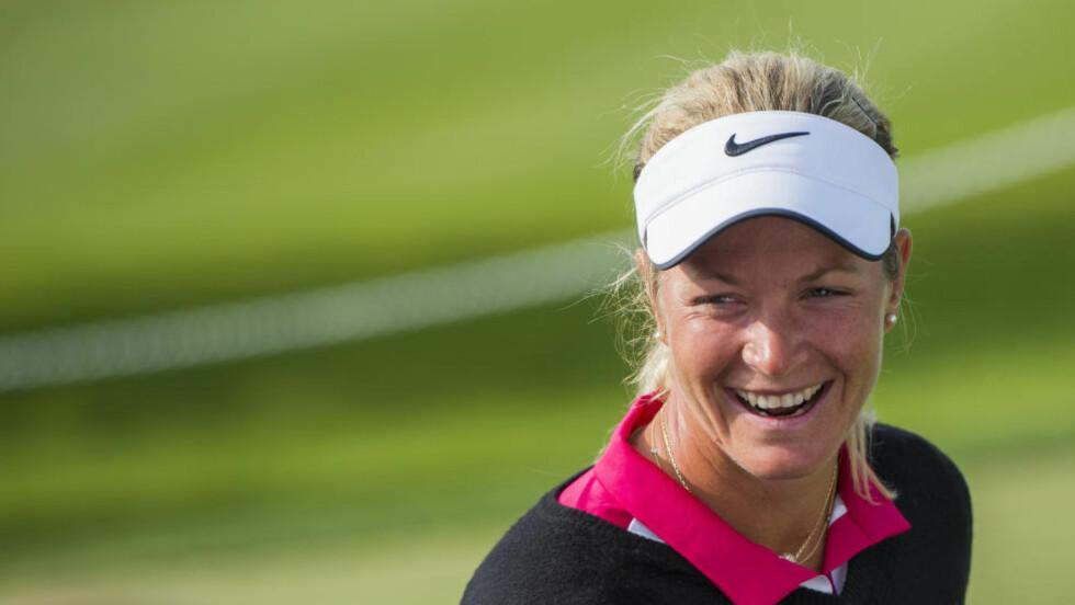 AVSLUTTET STERKT:  Suzann Pettersen leverte en sterk avslutning på den første runden i majorturneringen i Evian. Foto: Fredrik Varfjell / NTB scanpix