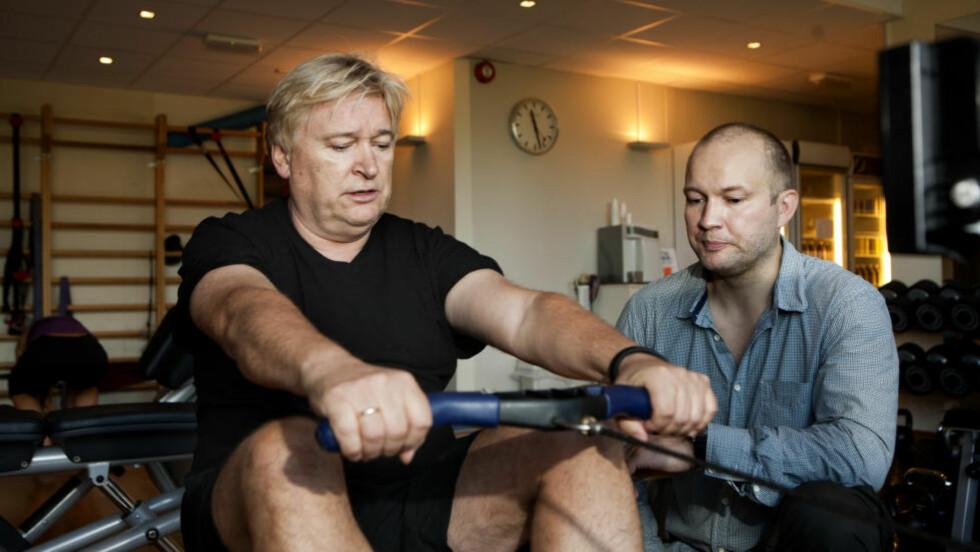 TRENINGSPROSJEKT: Jørn Hoel på treningssenter. Her med trener Inge Thomas Ravlo på Studio Day. Foto: Anders Grønneberg