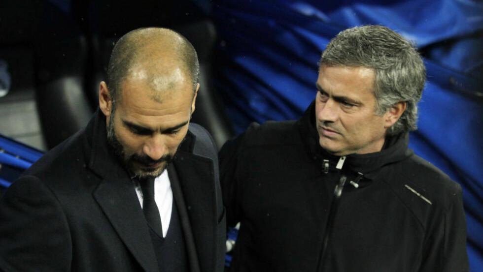 KRANGLEFANTER: Pep Guardiola og José Mourinho skal ha havnet i en ny ordkrig. Foto: Andreas Kudacki / AP / Scanpix
