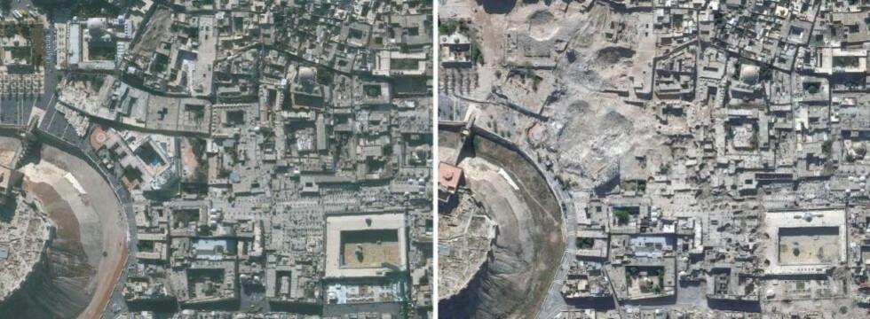 JEVNET MED JORDEN: Satelittbildene fra byen Aleppo viser noen av de enorme skadene på den syriske byen. Et hotell er jevnet med jorden og det er store skader på Umayyad-moskeen, ifølge FN-byrået Unitars analyse. Bildene er tatt 21. november 2010 og 22. oktober 2014. Foto: AFP / Unitar-Unosat