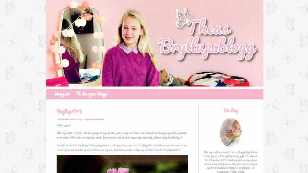 BRYLLUPSBLOGG: «Hvorfor vi skal gifte oss egentlig skjønner jeg ikke helt og jeg vet ikke helt om jeg har så veldig lyst, men mamma var hele tiden skikkelig glad og snakket om hvor fint bryllupet skal bli mens han var her», skriver 12 år gamle «Thea» på bloggen sin. Den er ikke ekte. Faksimile: Plan/theasbryllup.blogg.no