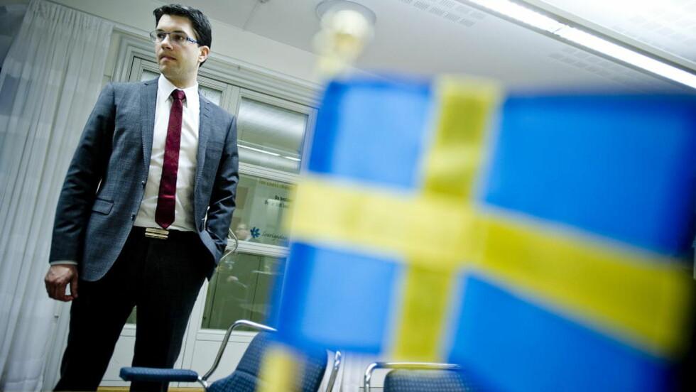 ØKT OPPSLUTNING: Jimmie Åkessons omstridte parti, Sverigedemokraterna, har gjort et godt valg.  Foto: Thomas Rasmus Skaug  / Dagbladet