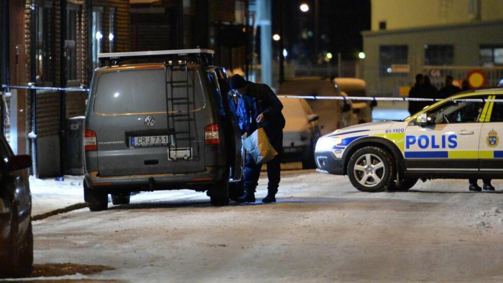 DREPT: En mann ble torsdag kveld skutt og drept på et industriområde i Malmö. Foto: Johan Nilsson / NTB Scanpix
