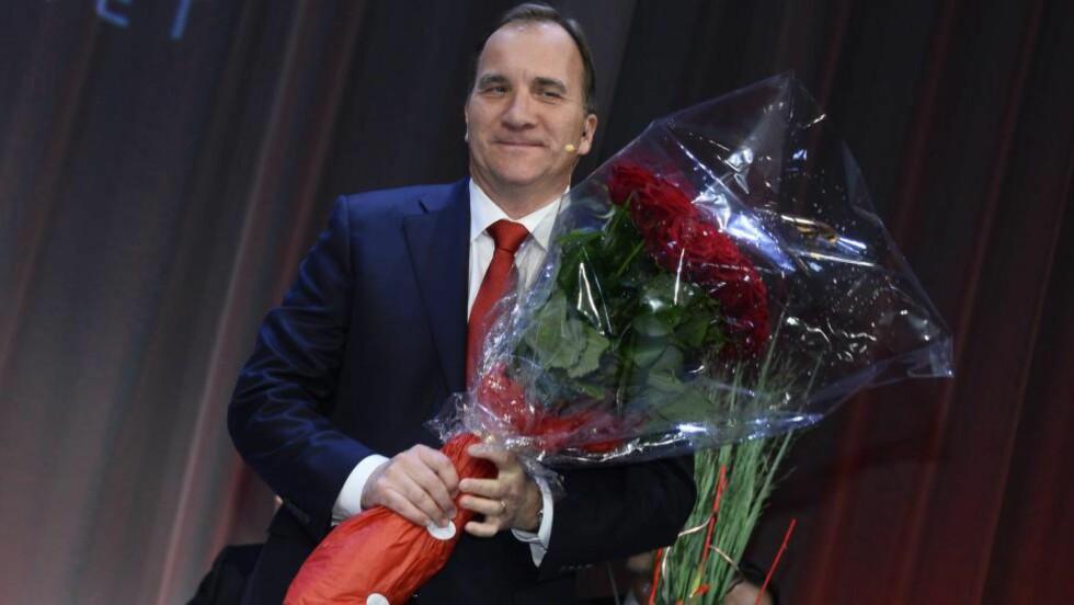 APELL:  Löfven appellerte til alle partiene i Riksdagen om å opptre ansvarlig, men han fastslo også at det ikke er aktuelt med noe samarbeid med Sverigedemokraterna enda så stor framgang de har hatt. Foto: TT/NTB.