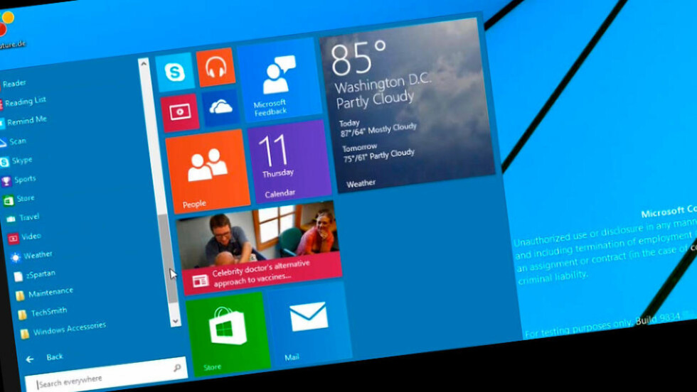 TILBAKE: Mange har ergret seg over at startmenyen mangler i Windows 8. I neste versjon gjør den comeback. Foto: WINFUTURE.DE