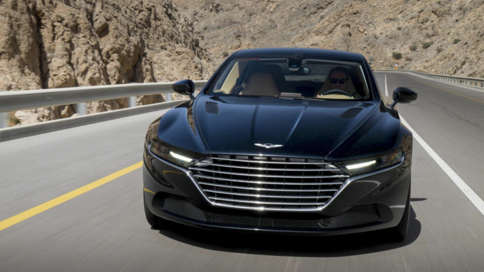 NYE TIDER: Dette er superluksus-sedanen Aston Martin Lagonda. Lite igjen av DB9-designen her... Foto: ZAGATO