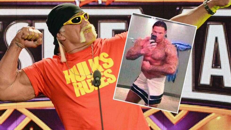 NY WRESTLING-STJERNE? Hulk Hogan er kanskje WWE-sirkusets største stjerne. Tyskland-keeper Tim Wiese (innfelt) kan bli den neste. Foto: AP Photo/Chris Carlson / NTB SCANPOX Scanpix / Twitter