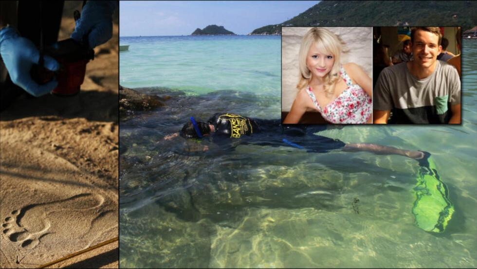 JAKTER ANGRIPERNE: Hannah Witheridge (23) og David Miller (24) ble funnet drept på ei strand på ferieøya Koh Tao i Thailand mandag denne uka. Foto: Reuters/AFP/NTB Scanpix