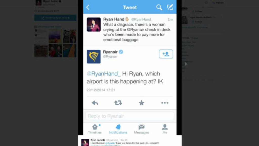 HVOR SKJER DETTE?: Ryanair reagerte lynraskt da de så Ryan Hands twittermelding.