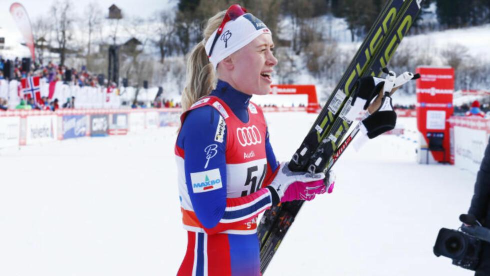 OVERRASKET :  På tross av flere sterke løp i vinter, kom tredjeplassen som en overraskelse på Ragnhild Haga. FOTO: Heiko Junge / NTB scanpix.