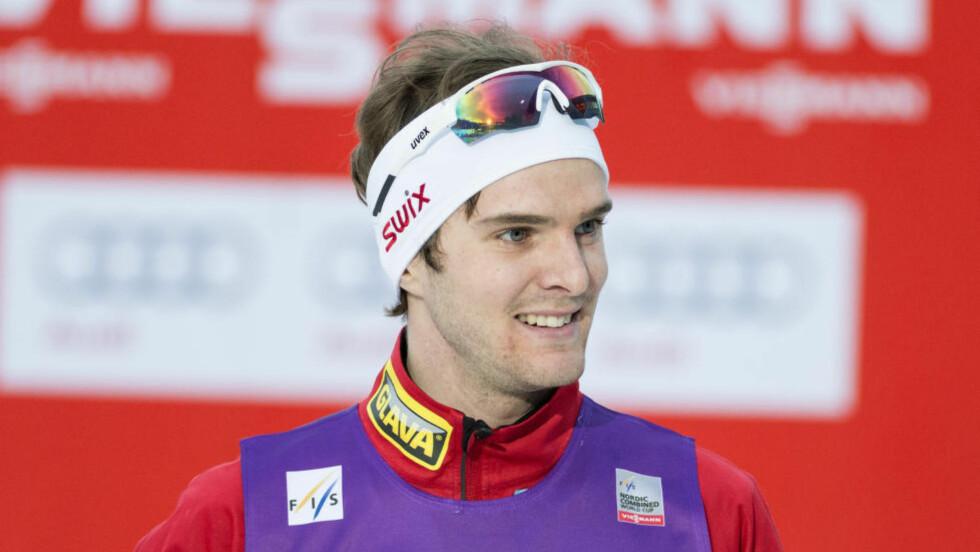 STAFETT: Mikko Kokslien la grunnlaget da han gikk Norge fra sjette til fjerdeplass på tredje etappen i den kombinerte lagkonkurransen lørdag. Jørgen Graabak fortsatt og gikk Norge inn til annenplassen. Foto: Ned Alley / NTB scanpix