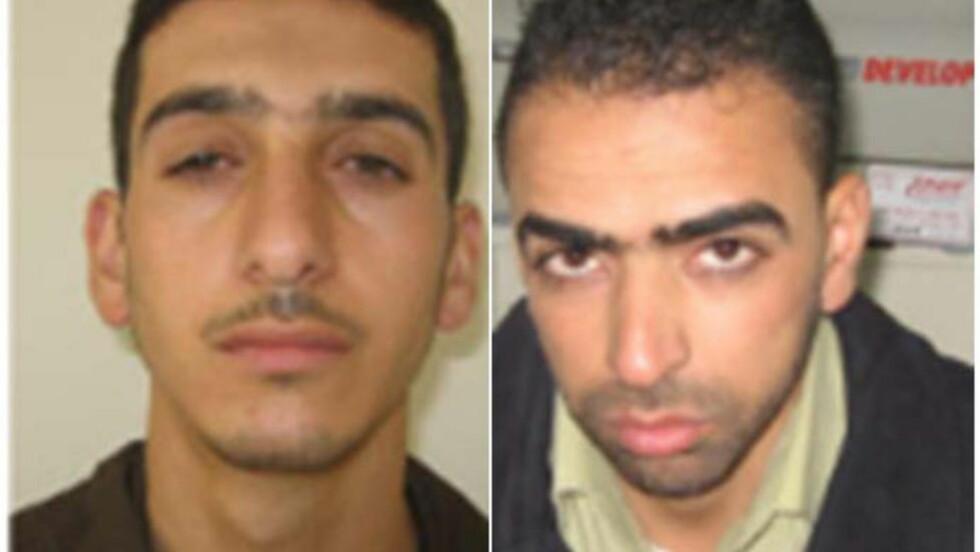 DREPT: Det er de palestinske Hamas-tilknyttede militante ekstremistene Marwan Kawasme og Amar Abu Aysha som skal være drept, tidlig i dag morges. Begge har i flere måneder vært hovedmistenkte for kidnappingen og drapene på de tre israelske tenåringene på Vestbredden i juni. Foto: NTB Scanpix
